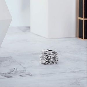 Silver Two Tone Braided Statement Ring